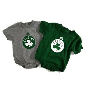 Two Adidas Boston Celtics T-Shirts 0-3m